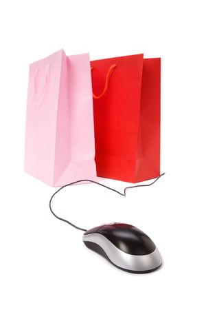 Isolated Shopping Bag and computer mouse, concept of ecommerce Stock Photo - 1888859