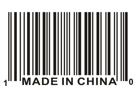 Made in China and barcode, business concept photo