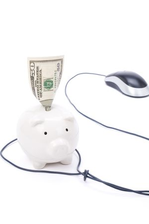 Piggy Bank and computer mouse, concept of e-commerce, online banking Stock Photo - 1962803