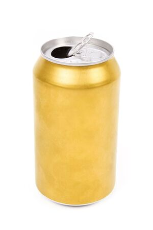 yellow: a yellow beer can with white background Stock Photo