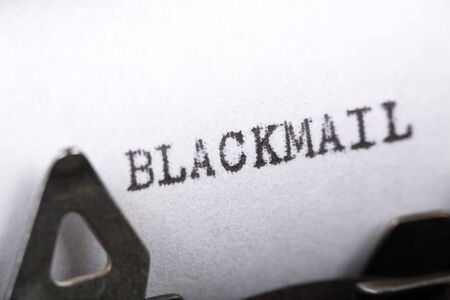 Typewriter close up shot, Concept of Blackmail Stock Photo - 1962828