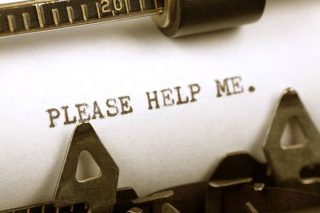 help me: Typewriter close up shot, Concept of Please Help Me