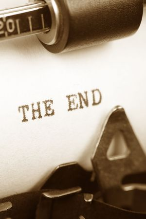 Typewriter close up shot, concept of the end