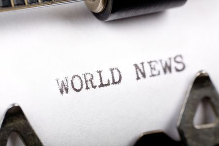 world news: Typewriter close up shot, concept of world News Stock Photo