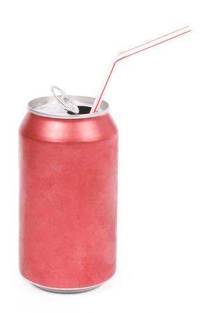 soda can: a red soda can with white background
