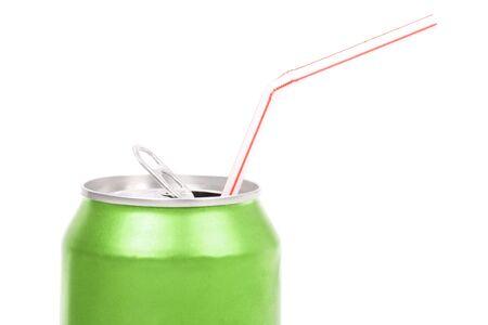 soda can: green soda can close up shot Stock Photo
