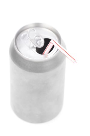 soda can: a silver soda can with white background