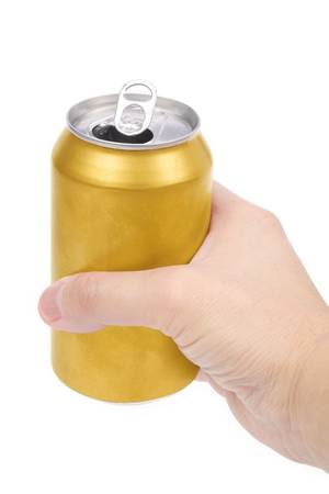 a yellow beer can with white background Stock Photo