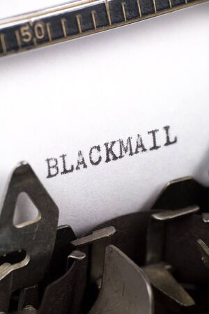 extortion: Typewriter close up shot, Concept of Blackmail