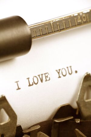 Typewriter close up shot, Concept of I Love You