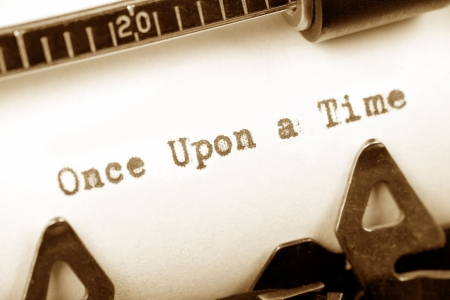 once: Typewriter close up shot, concept of story, Once Upon a Time