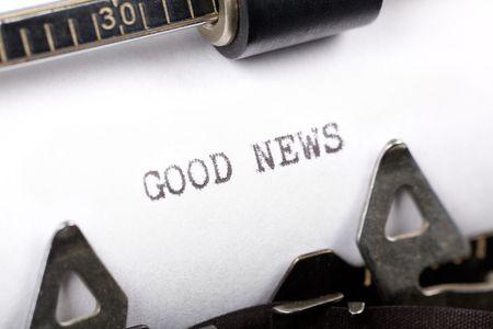 Typewriter close-up shot, concept van goed nieuws