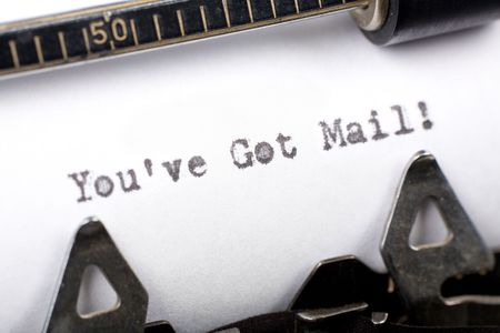 you've got mail: Typewriter close up shot, concept of youve got mail