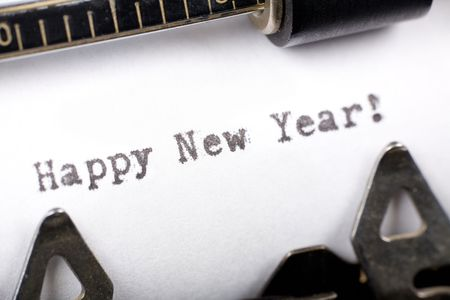 Typewriter close up shot, concept of Happy New Year
