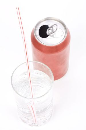 soda can: red soda can and glass with white background Stock Photo