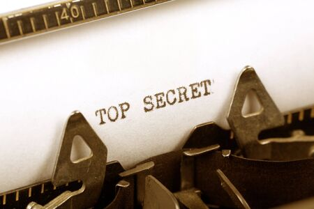 Typewriter close up shot, Concept of Top Secret Stock Photo - 2028222