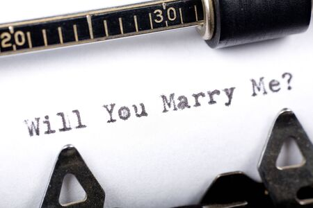 Typewriter close up shot, Concept of Will You Marry Me Stock Photo - 2028196