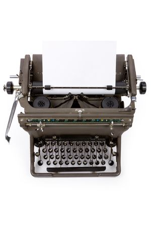 Typewriter and paper with white background Banco de Imagens