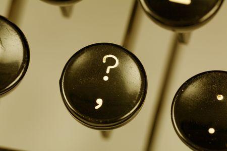 Typewriter keyboard close up shot, interrogation