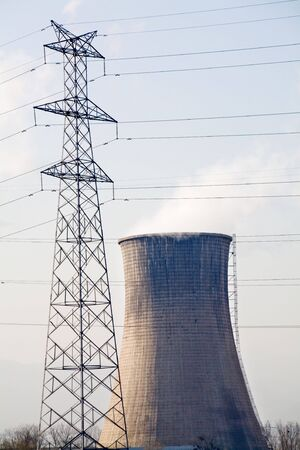 cooling tower:  Electricity Pylon and Cooling Tower,  Fuel and Power Generation Stock Photo