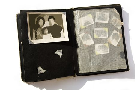 Photo Album with old stained photos Archivio Fotografico