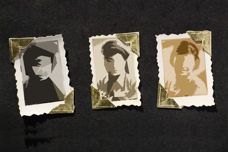 photo album: Photo Album with old stained photos, all photos have been blurred, so you can use the photo frame and put your photo in.