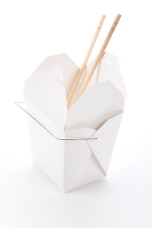 out to lunch: chinese To-Go Box with white background Stock Photo
