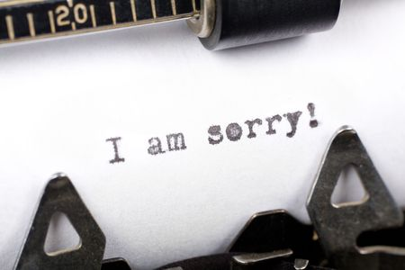 apology: Typewriter close up shot, concept of I am sorry