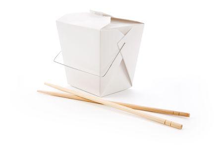 chinese To-Go-Box met een witte achtergrond Stockfoto