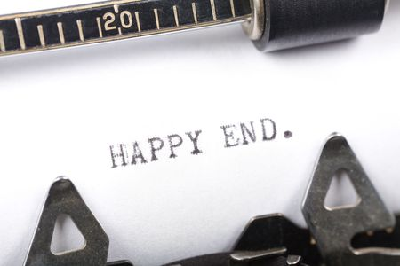 Typewriter close up shot, concept of Happy end