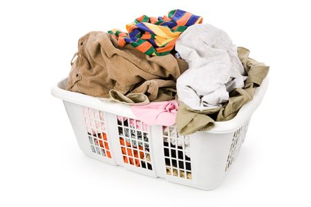 laundry basket and dirty clothing with white background Stock Photo - 2553785