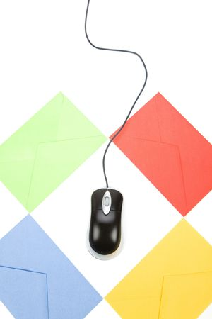envelope and computer mouse, concept of email Stock Photo