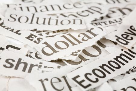 Newspaper Headlines close up for background photo