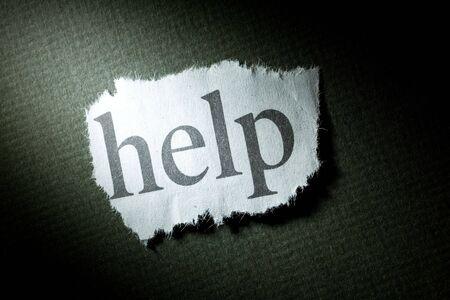 help: Headline Help, concept of Help Stock Photo
