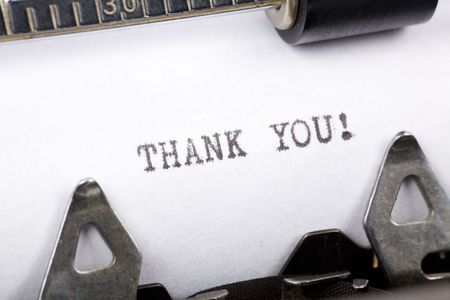 thankfulness: Typewriter close up shot, concept of Thank you Stock Photo