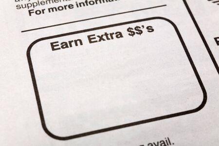 신문 여분의 달러 광고, 고용 개념을 적립