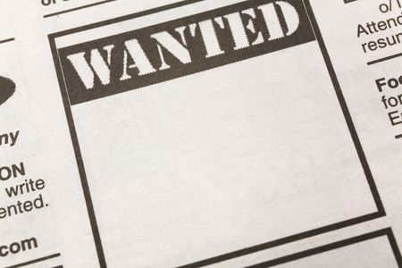 newspaper Wanted ad, Employment concept photo