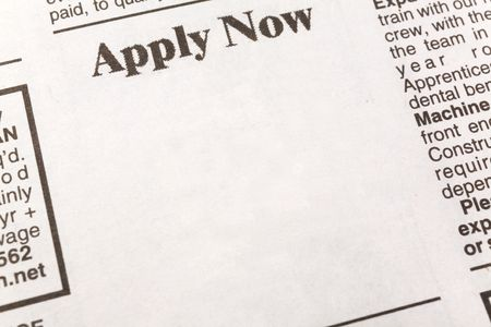 newspaper employment ad, Apply Now, Employment concept photo
