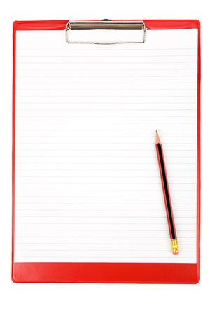 Red Clipboard with white background Stock Photo - 2717887