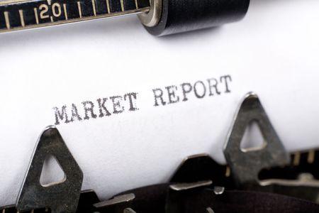 Typewriter close up shot, concept of Market Report