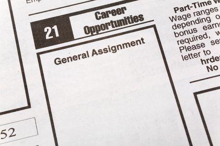 신문 취업 광고, 취업 기회, 고용 개념