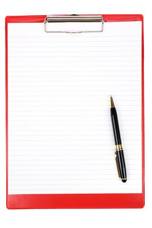 Red Clipboard with white background Stock Photo - 2773644