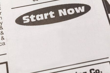 newspaper employment ad,  start now, Employment concept