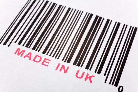 Made in UK and barcode, business concept Stock Photo