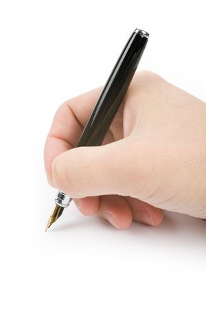hand holding a Fountain Pen, writing document Stock Photo - 2801425