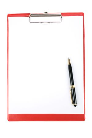 Red Clipboard with white background Imagens