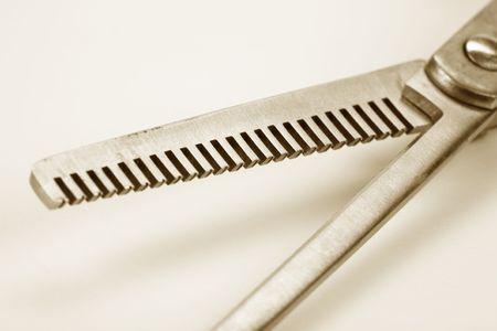 haircutting: Hair Thinning Scissors close up shot