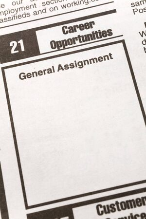newspaper Classified Ad, Employment concept