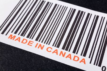 Made in Canada and barcode, business concept