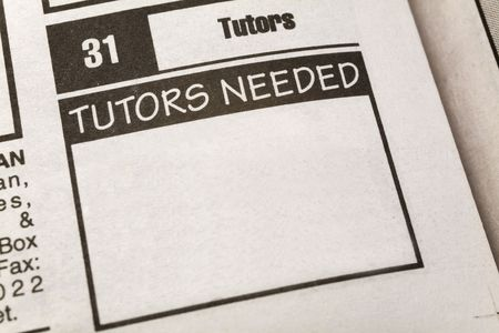 newspaper Classified Ad,Tutors Needed, Employment concept 스톡 콘텐츠